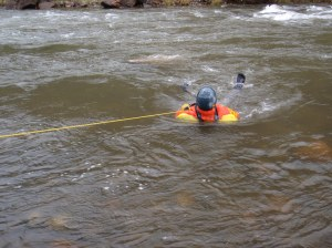 Pulling a swimmer in to safety.