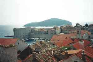 Walled city with Lokrum in the background
