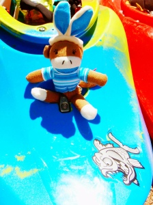 Sock Monkey Bunny ready to go with Angry Fish!